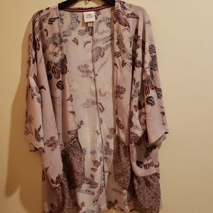 Knox Rose Size L Coat Cover Up Wrap Pink Floral